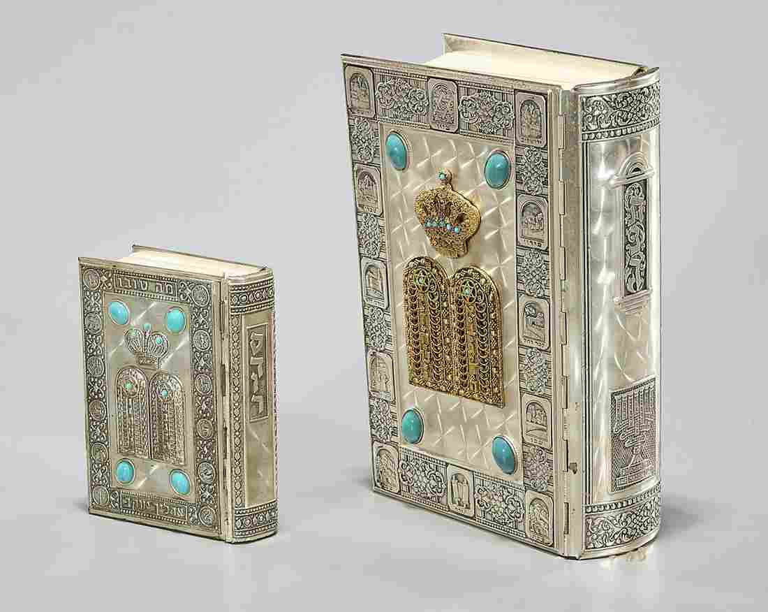 Two Silver Bound Jewish Books of Scripture