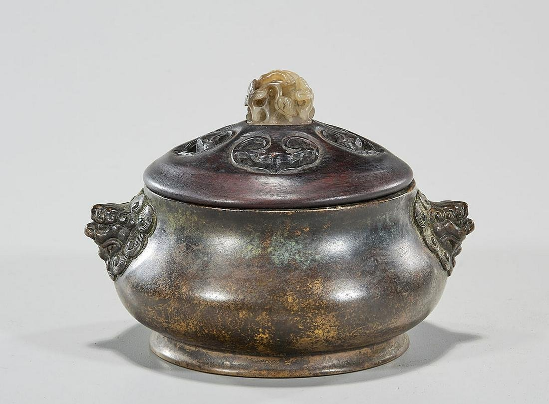 Chinese Bronze Censer with Carved Jade Finial Wood