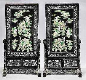 Pair Chinese Framed Enameled Porcelain Plaques
