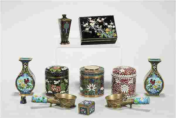Group of Eight Chinese and Japanese Cloisonne