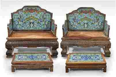 Pair Large Chinese Cloisonne and Carved Wood Thrones