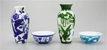 Group of Four Chinese Decorative Glass Items