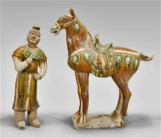 Chinese Sancai Pottery Horse and Groom