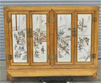 Chinese Porcelain Plaque Paneled Wood Cabinet