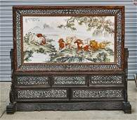 Chinese Enameled Porcelain and Wood Screen