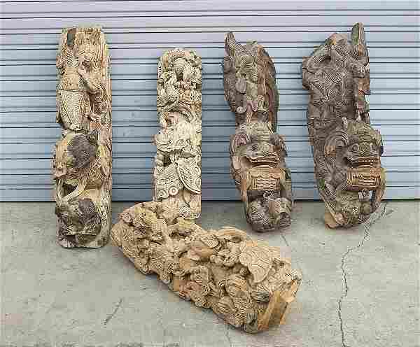 Group of Five Chinese Carved Wood Architectural