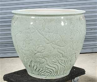 Large Chinese Crackle Glazed Porcelain Fish Bowl