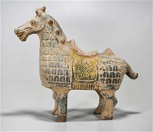 Chinese Polychrome Pottery Horse