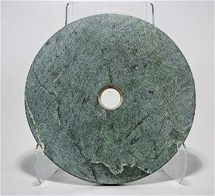 Large Chinese Hardstone Bi Disc