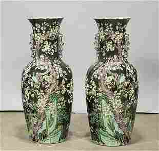 Pair Tall Chinese Enameled Porcelain Vases