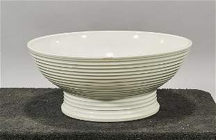 Large Chinese White Glazed Porcelain Footed Bowl