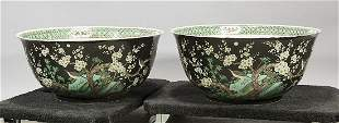 Pair Large Chinese Enameled Porcelain Bowls