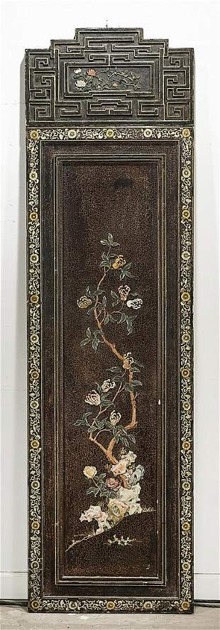Chinese Hardstone and Wood Panel