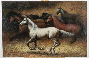 Oil on Canvas Painting of Horses