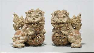 Pair Chinese Enameled Porcelain Fo Lions