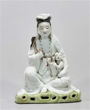 Chinese Glazed Porcelain Seated Guanyin