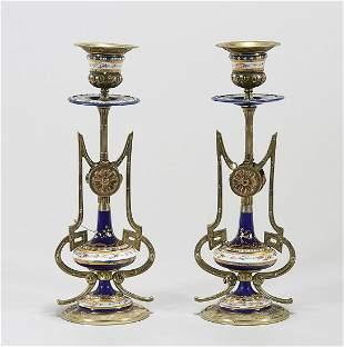 Pair Sevres-Style Ormolu Porcelain Candlesticks