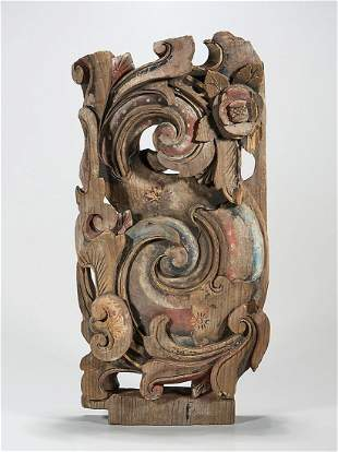 Polychrome Carved Wood Architectural Ornament