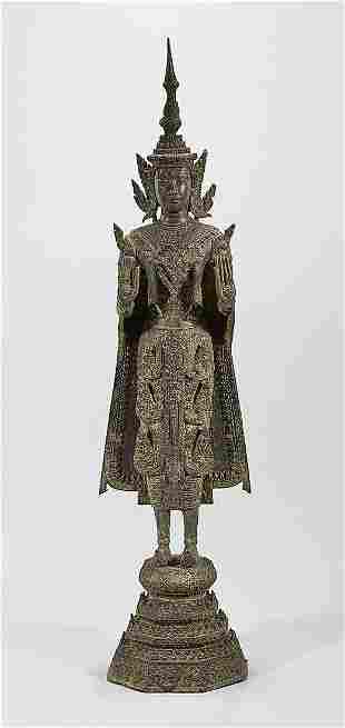 Thai Parcel-Gilt Bronze Standing Buddha