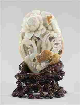 Chinese Carved Jade Fish and Flower Group