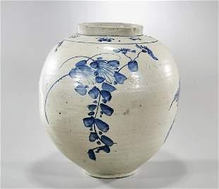 Large Korean Blue and White Porcelain Glazed Vase