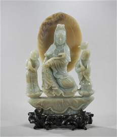 Chinese Carved Jade Buddha With Attendants