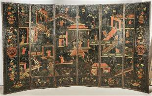 Vintage Chinese Painted Leather Screen