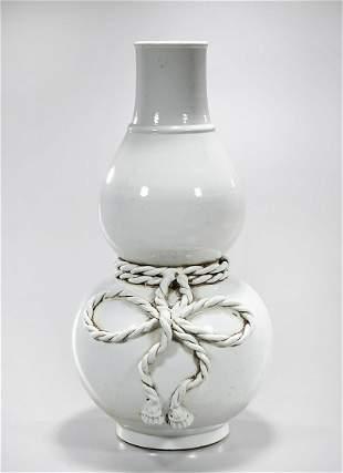 Large Chinese White Porcelain Double Gourd Vase