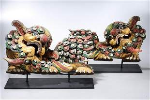 Pair Chinese Gilt and Painted Wood Dragons