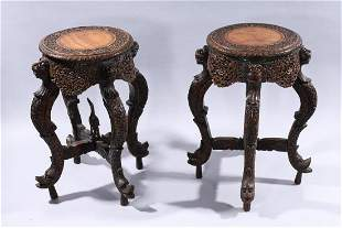 Pair Indian Carved Wood Pedestals