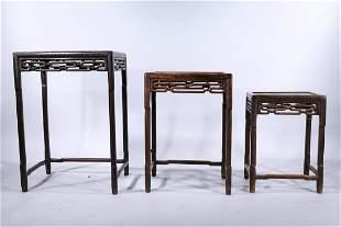 Set of Three Chinese Hardwood Nesting Tables