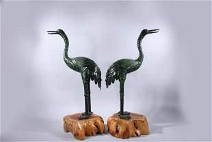 Pair Large Carved Spinach Jade Cranes