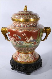 Large Chinese Cloisonne Enamel Covered Censer