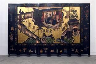 Chinese 8-Panel Wood Screen