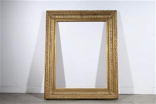 Large Antique Carved Wood and Gesso Frame