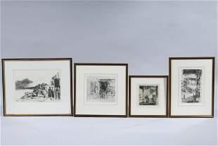 Group of Four Etchings by John Winkler
