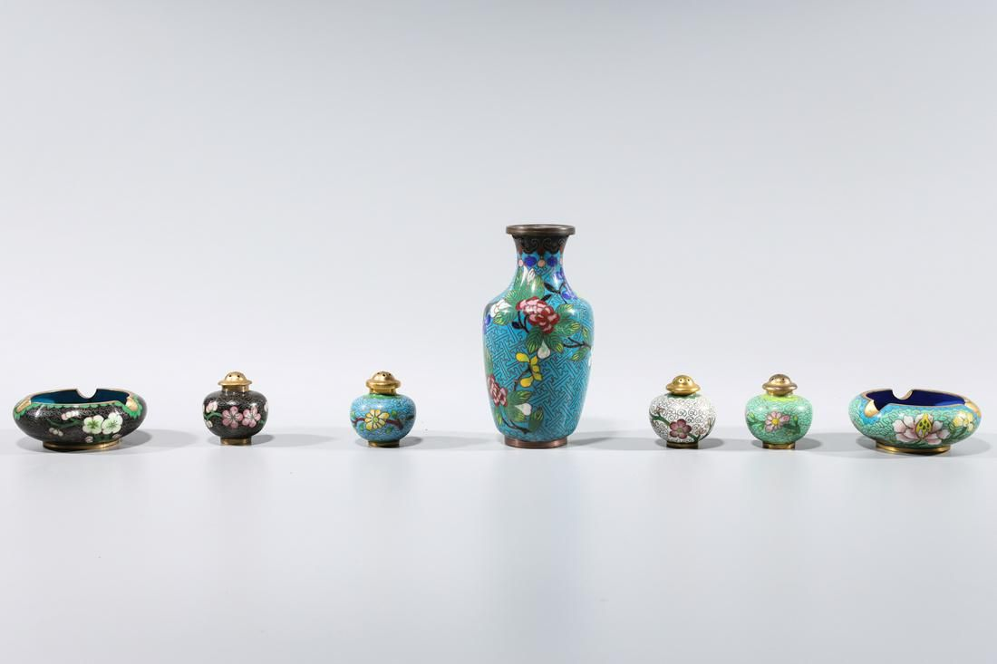 Group of Seven Chinese Cloisonne Pieces