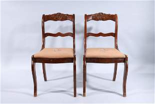 Pair of Carved Wood Armchairs