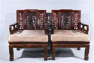 Pair Chinese Carved Wooden Chairs