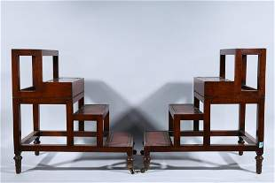 Set of Two Antique Metamorphic Library Steps