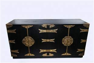 Black Chinese Sideboard with Gold Hardware