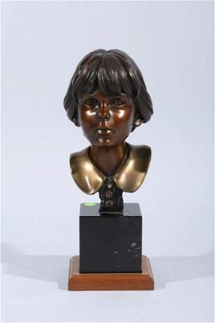 Bronze Signed Bust of Girl on Granite