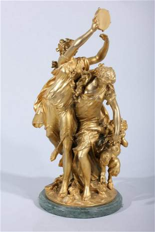 Antique Bronze Gilt Statue With Putti and Two Women by