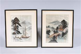 Two Chinese Embroidered Silk Framed Painting