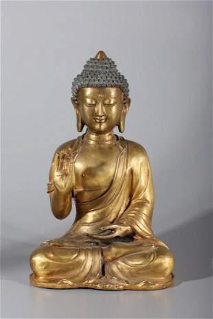 Tibetan Buddha Gilt Copper and Stone Statue