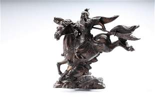 Chinese Bronze Guandi on Horseback
