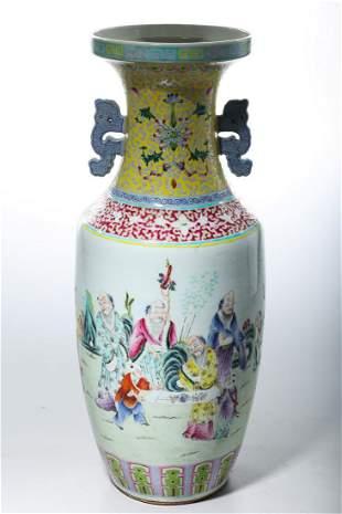 Tall Chinese Enameled Porcelain Vase