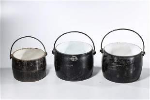 Group of Three Vintage T&C Clark Cast Iron Pots