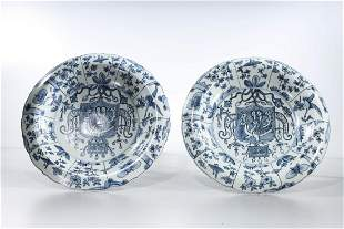Two Chinese Blue and White Porcelain Chargers