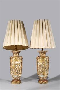 Pair Antique Japanese Satsuma Vases Mounted as Lamps